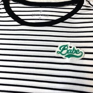 """AEO Soft & Sexy """"Babe"""" Patch Striped Fitted Tee"""